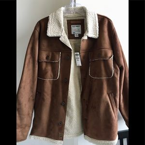 NWT Old Navy Faux Shearling Sherpa Coat. Brown S